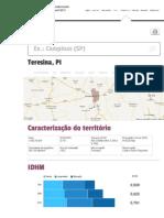 Perfil do Município de Teresina, PI _ Atlas do Desenvolvimento Humano no Brasil 2013