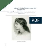 An Die Dichterinn Von Carl Hadermann