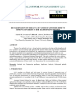 Determination of the Effectiveness of Aptitude Test to Improve Sincerity in Th