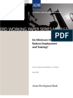 Do Minimum Wages Reduce Employment and Training?