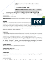 CCC Special Topic-Research on Cross Cultural Communication and Cultural Instruction of College English Language Teaching