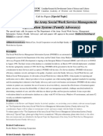 SSS Special Topic-The Department of the Army Social Work Service Management Information System (Family Advocacy)