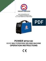 Manual MIG TIG ARC Welder MTS210D Manual