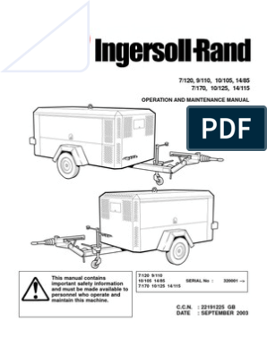 Ingersoll rand Portable Diesel Compressor Operation Manual | Valve