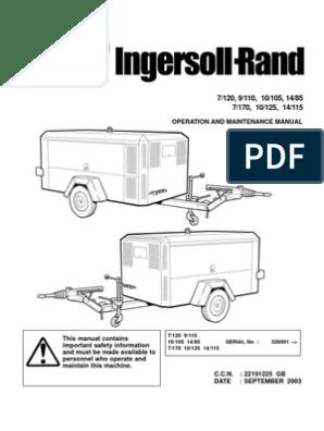 Ingersoll rand Portable sel Compressor Operation Manual ... on sullair 185 compressor diagram, screw type compressor diagram, a c compressor diagram, air compressor diagram, rotary compressor diagram,