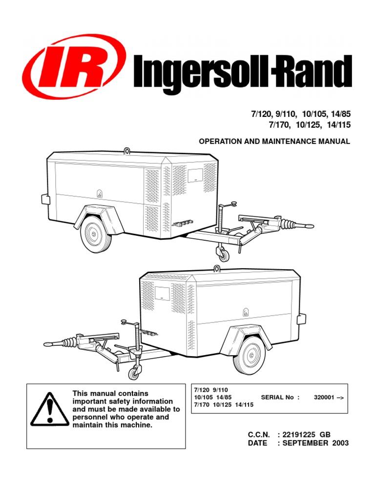 ingersoll rand portable diesel compressor operation manual valve rh scribd com ingersoll rand air compressor service manual ingersoll rand air compressor installation manual