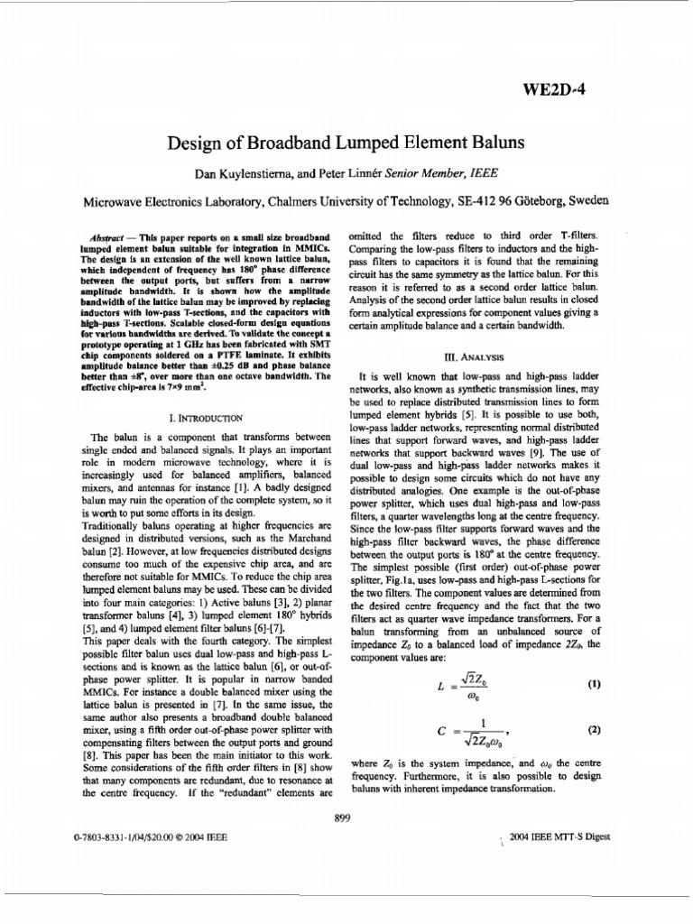 Design Of Broadband Lumped Element Baluns Electronic Filter Low Circuits Bridge Topology Image Impedance Pass
