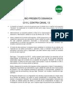 Comunicado demanda civil de Jumbo contra Canal 13