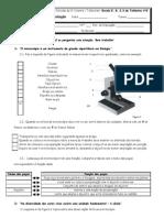Teste avaliação microscópio célula classificação SV 5º ano
