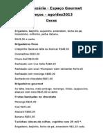 Lista de preços 2013