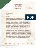 Bear Bryant Letter