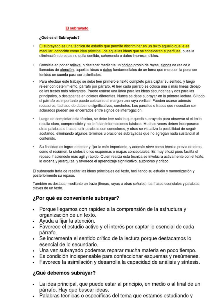 EL SUBRAYADO, SÍNTESIS, RESUMEN, ESQUEMAS, ETC. X
