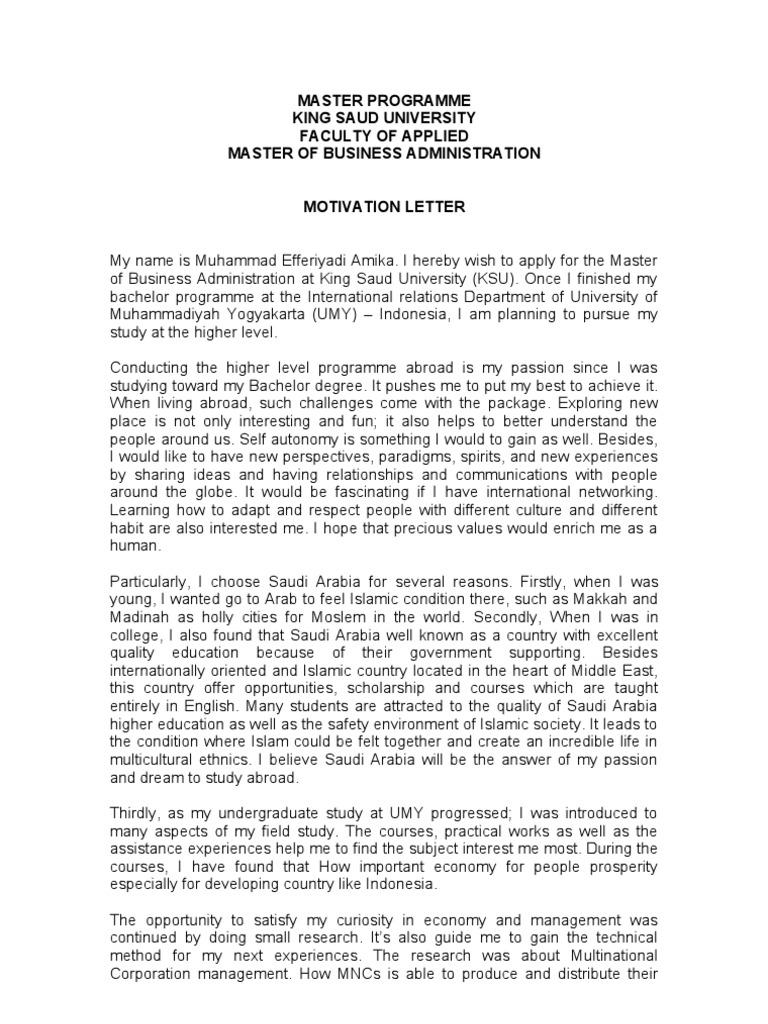 Contoh Motivation Letter Multinational Corporation Strategic
