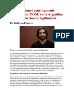 Los organismos genéticamente modificados (OGM) en la Argentina y la construcción de legitimidad- Por Guillermo Folguera