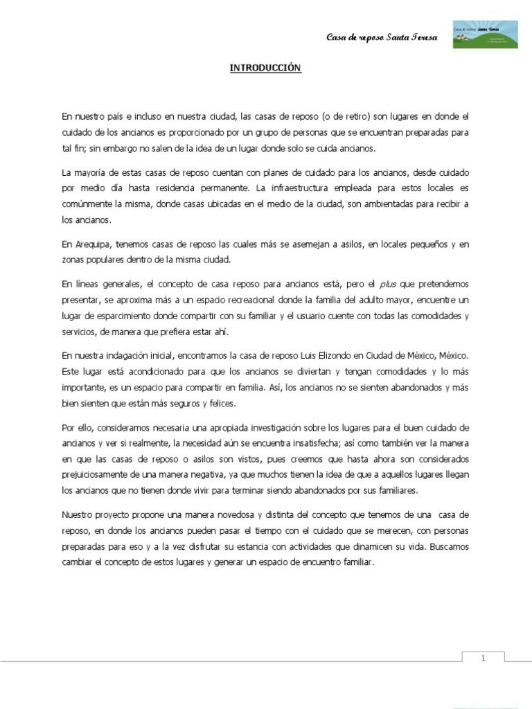 Tesis casa de retiro for Asilo de ancianos pdf