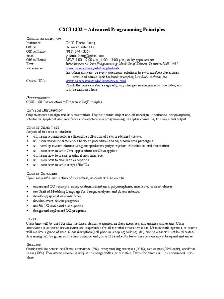 CSCI 1302 Syllabus | Class (Computer Programming) | Object