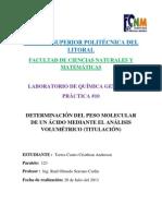 DETERMINACIÓN DEL PESO MOLECULAR DE UN ÁCIDO MEDIANTE EL ANÁLISIS VOLUMÉTRICO (TITULACION)