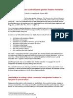 Identity, Ignatian Leadership and Ignatian Teacher Formation