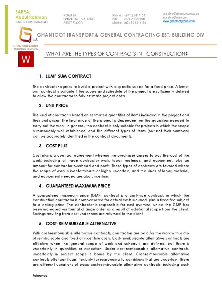 Unique types of construction contract photo resume ideas for Cost plus building contract template