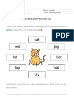 Words That Rhyme With Cat - English resource for primary/elementary children