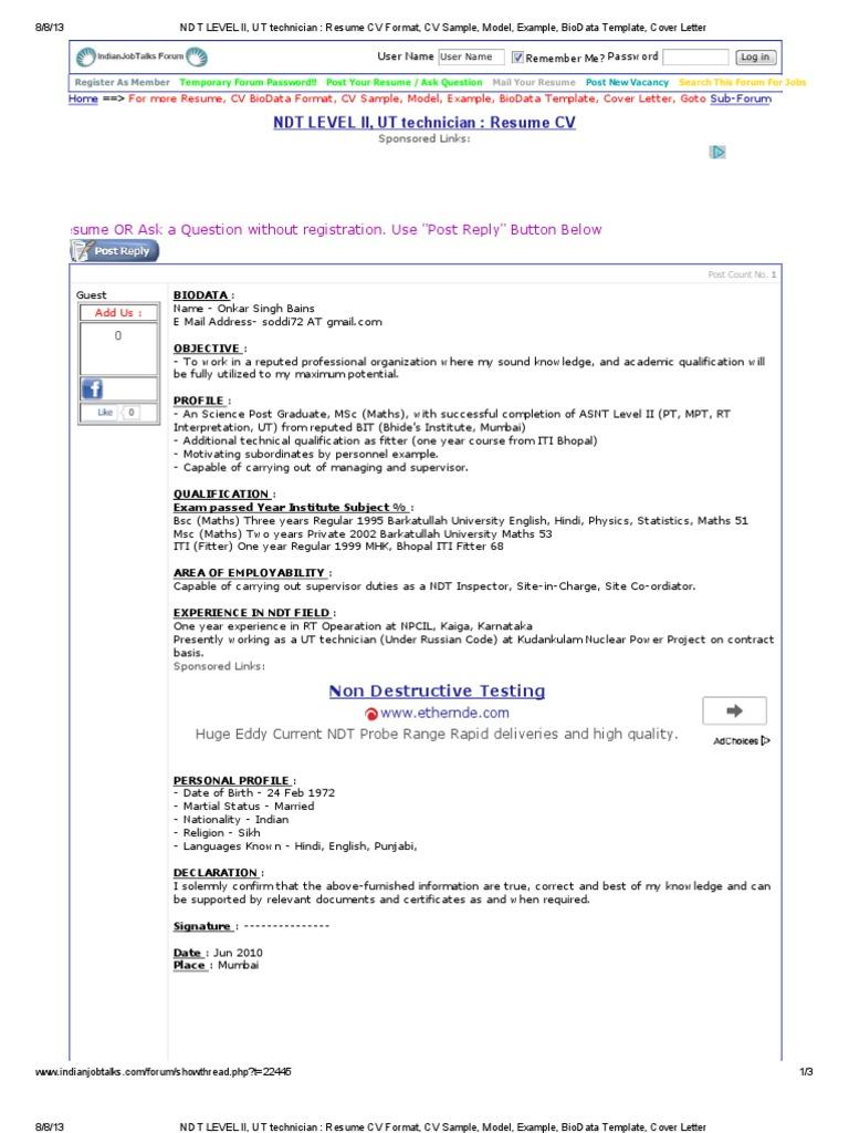 ndt level ii  ut technician   resume cv format  cv sample  model  example  biodata template