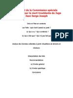 Rapport de la Commission speciale d'enquête sur la mort troublante du Juge Jean-Serge-Joseph