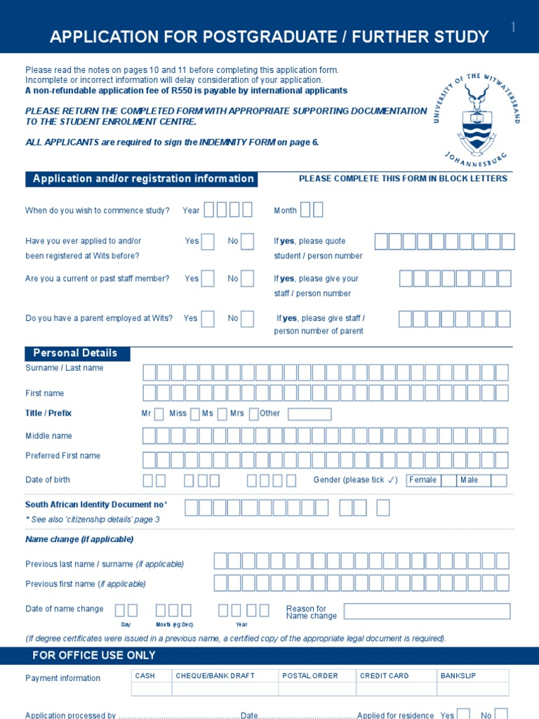 Application Form Wits Postgraduate Education Doctor Of Philosophy