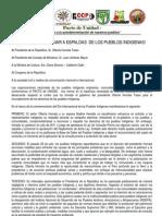 Pronunciamiento 9 de Agosto 2013 - Pacto de Unidad
