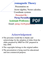 EMT Lect- 1 Vector Alzebra, Vector Calculus Co-Ordinate Systems