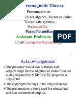 EMT Lect- 1 Vector Alzebra, Vector Calculus Co-Ordinate Systems