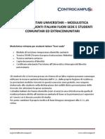 SERVIZI SANITARI UNIVERSITARI – MODULISTICA RICHIESTA STUDENTI ITALIANI FUORI SEDE E STUDENTI
