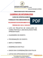 CADERNO DE INFORMAÇÕES - MEDIADORES