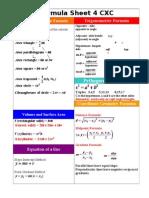 CXC MATHS Formula Sheet