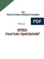 Repitencia Ptoyecto Investigacion