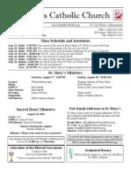 Bulletin for August 11, 2013