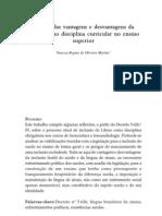 Análise das vantagens e desvantagens da da Libras COMO DISCIPLINA CURRICULAR NO ENSINO SUPERIOR