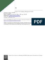 Discourse Analysis Vocabulary Management Profile