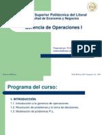 Introducción Cap´tulo 1 GERENCIA DE OPERACIONES I