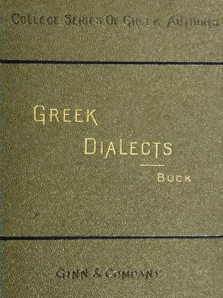 Buck Greek Dialects Classical Antiquity