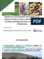 Erosión de conocimientos ancestrales en el cultivo de papa en cinco comunidades de la  parroquia San Juan, provincia de Chmborazo, Ecuador