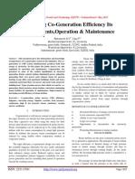 Increasing Co-Generation Efficiency Its Improvements,Operation & Maintenance