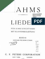 [Spartito Lirica] Brahms - Lieder - Volume 3 (Voce Alta) Edizione Peters