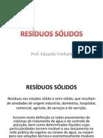 SLIDES AULAS - RESÍDUOS SÓLIDOS