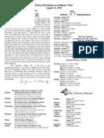 August 11, 2013 Bulletin