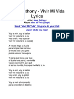 Lyrics of Vivir Mi Vida by Marc Anthony