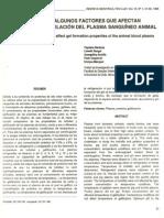 10. Estudios de algunos factores que afectan la propiedad de gelación del plasma sanguíneo animal