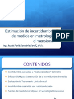 Estimacion de Incertidumbre de Medida en Metrologia Dimensional - Ing Raizel Farid Sanabria Sandi