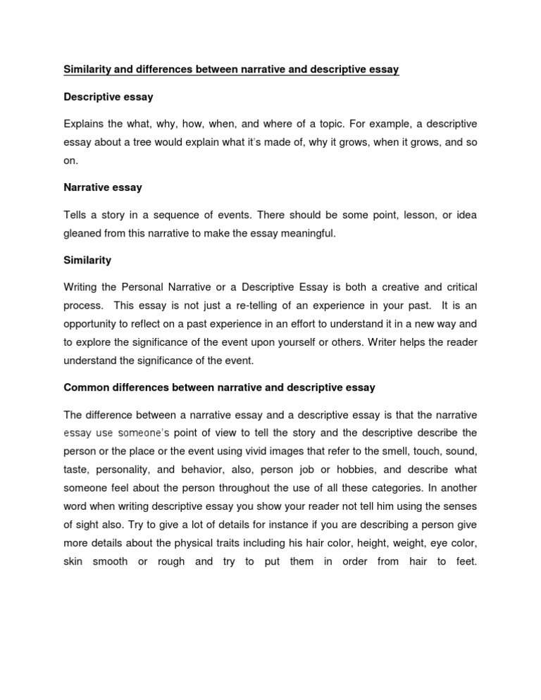 similarity and differences between narrative and descriptive essay