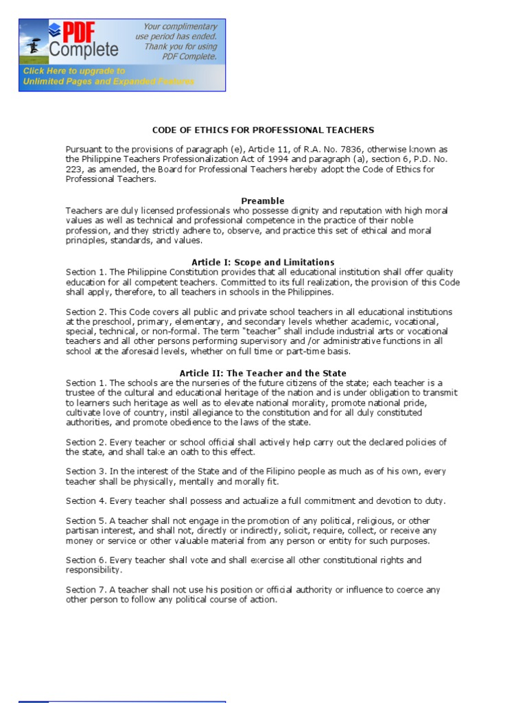 Code of ethics for professional teachers deped ncr profession code of ethics for professional teachers deped ncr profession teachers fandeluxe Image collections