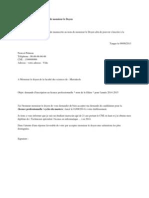Demande Manuscrite Au Nom De Monsieur Le Doyen